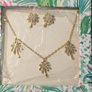 Lilly Pulitzer Sparkle Palm Tree Necklace Set New